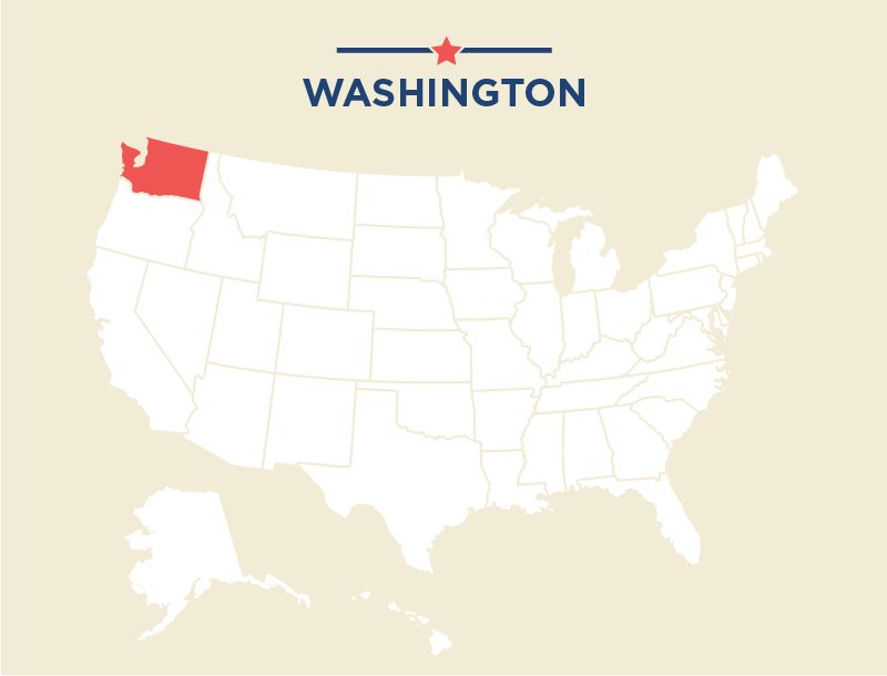 U.S. map highlighting Washington state in red (State Dept.)