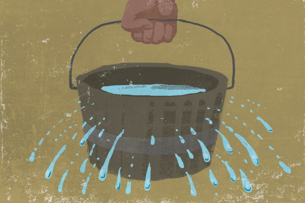 Illustration of water leaking from a bucket (State Dept./Doug Thompson)