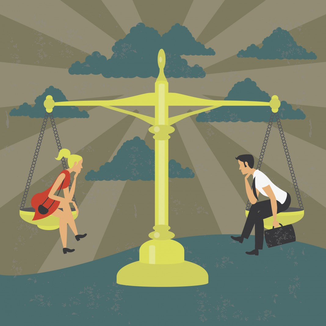 نقاشی زنان و مردان روی یک ترازو (Shutterstock)