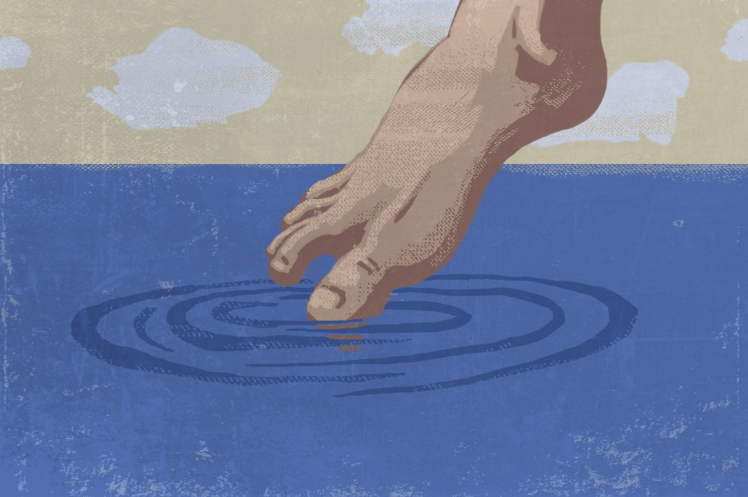Illustration of a foot dipping a toe in water (State Dept./Doug Thompson)