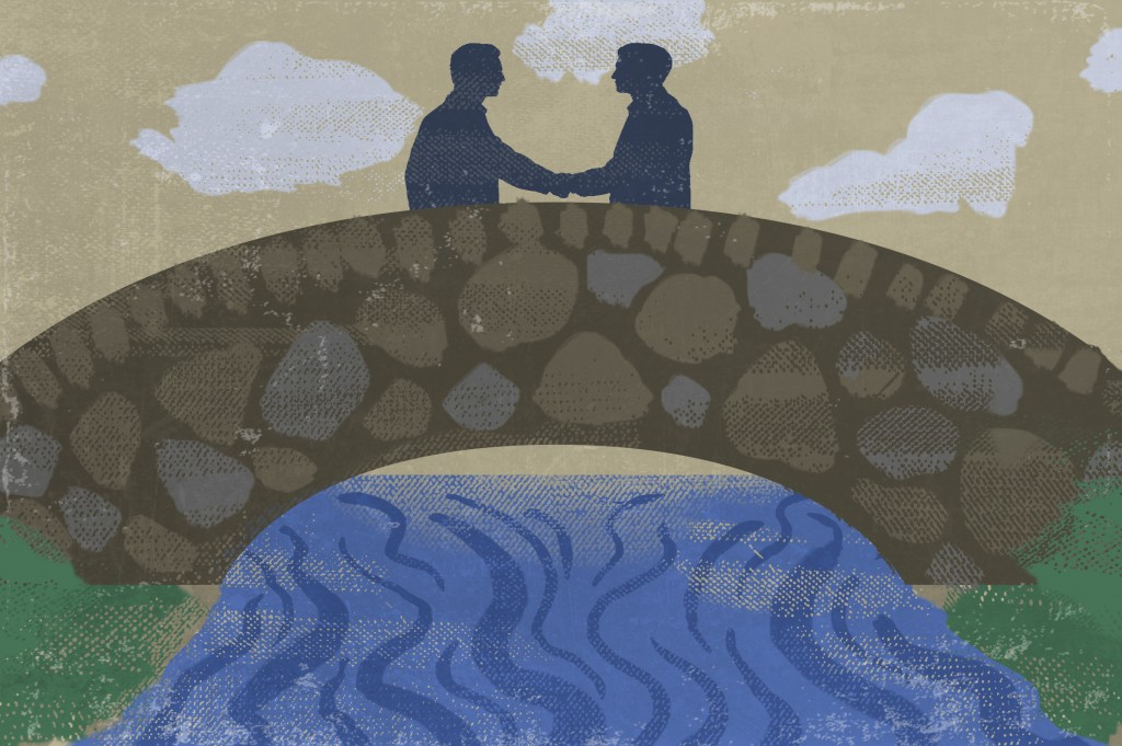 Illustration of two people shaking hands on bridge with water beneath (State Dept./Doug Thompson)