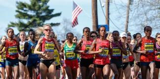 Women running in road race (© AP Images)