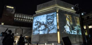 Holocaust Museum, with projected images (© AP Images)
