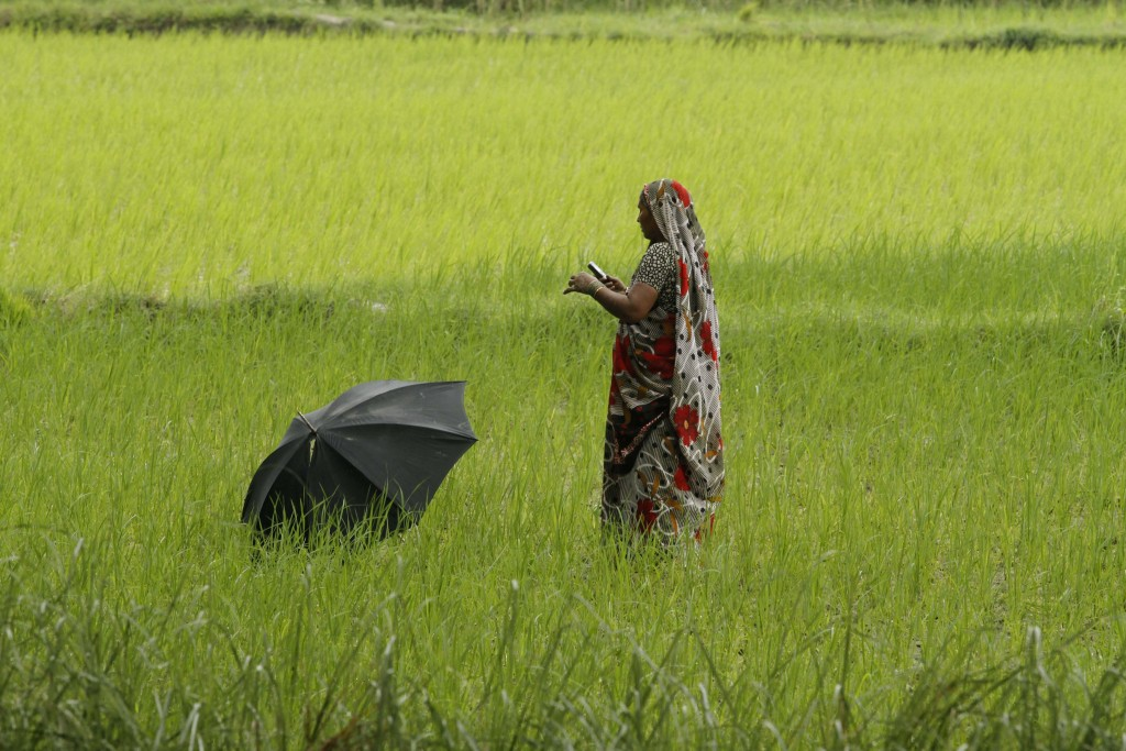 Woman with umbrella in field (© AP Images)