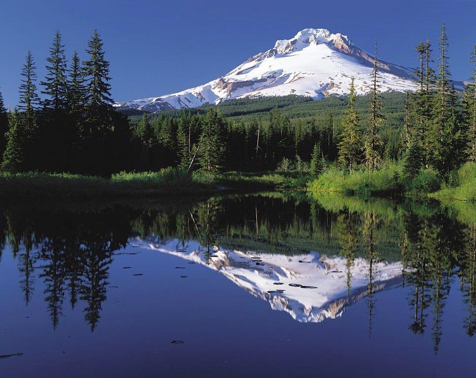 Snow-capped mountain reflecting in lake (Courtesy of Oregon's Mt. Hood Territory)