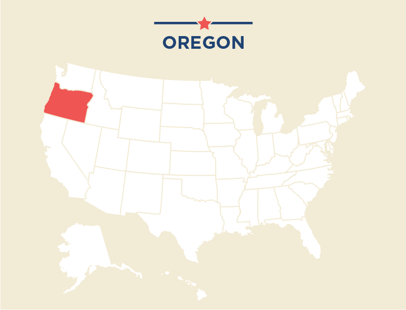 U.S. map with Oregon highlighted (State Dept./J. McCann)