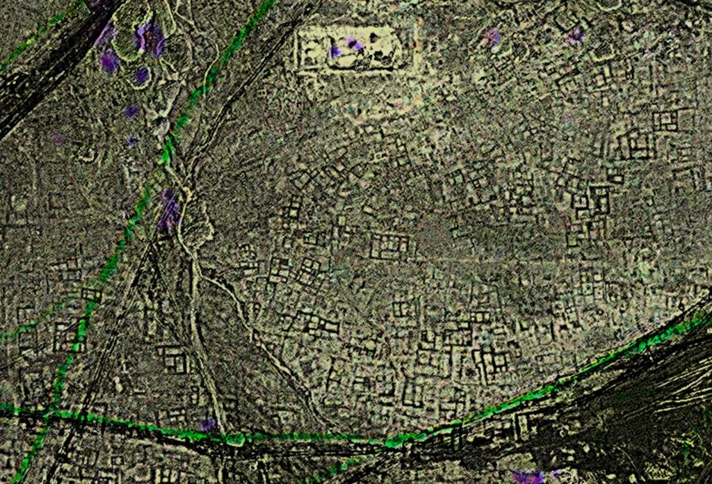 Imagem de satélite de retângulos pontilhando a paisagem (Cortesia: Sarah Parcak)