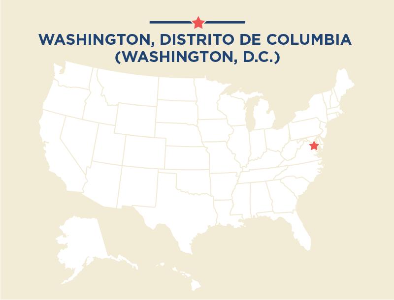Mapa de Estados Unidos en el que se destaca la ciudad de Washington, D.C. (Depto. de Estado)