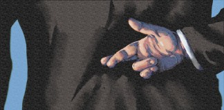 Illustration of crossed fingers behind person's back