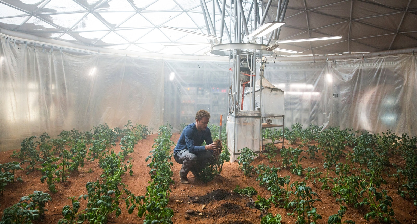Matt Damon tending indoor garden (20th Century Fox)