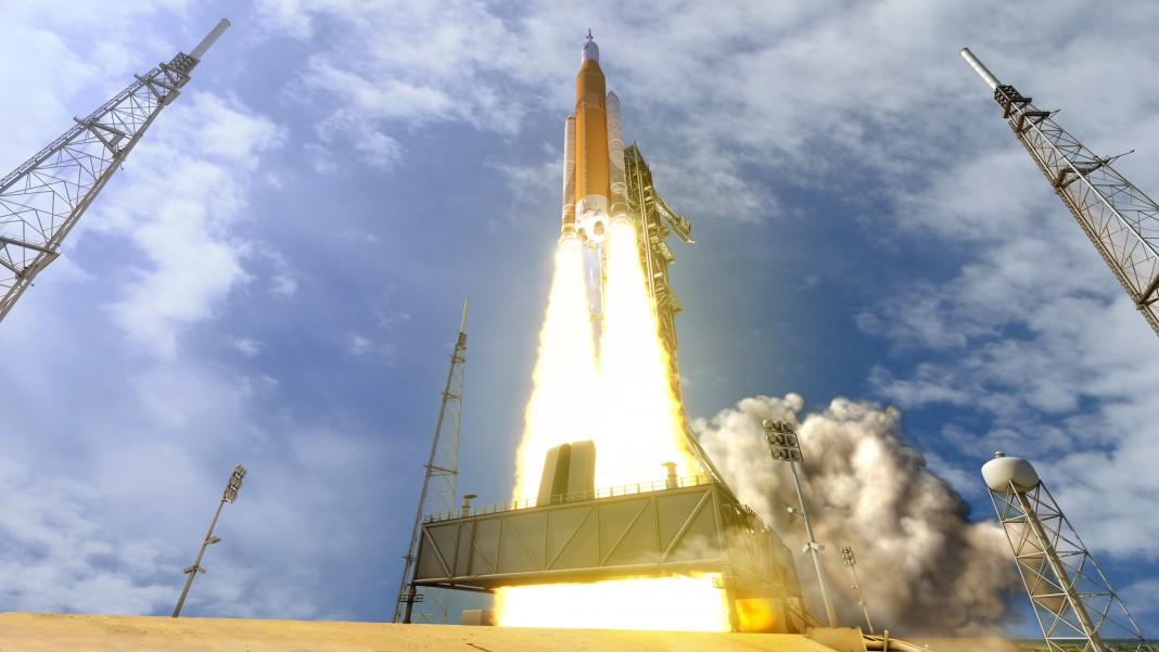Artist's conception of new NASA rocket lifting off from launch pad (NASA/MSFC)