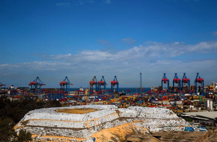 Packed waste at the Beirut port (© AP Images)