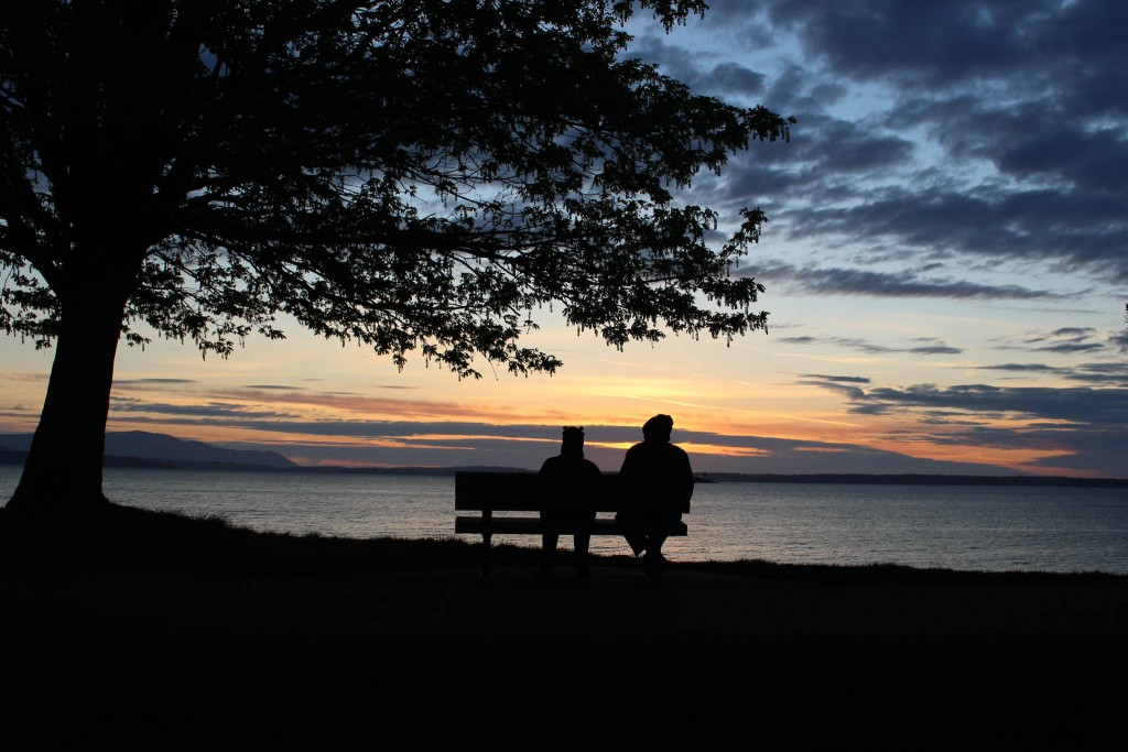 Silhouette of two people sitting on bench next to tree at sunset (© Latif Abdul)