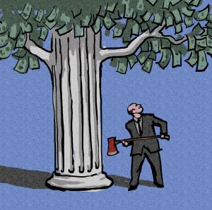 Illustration of man with ax looking at tree with column for trunk and money for leaves (State Dept./D. Thompson)