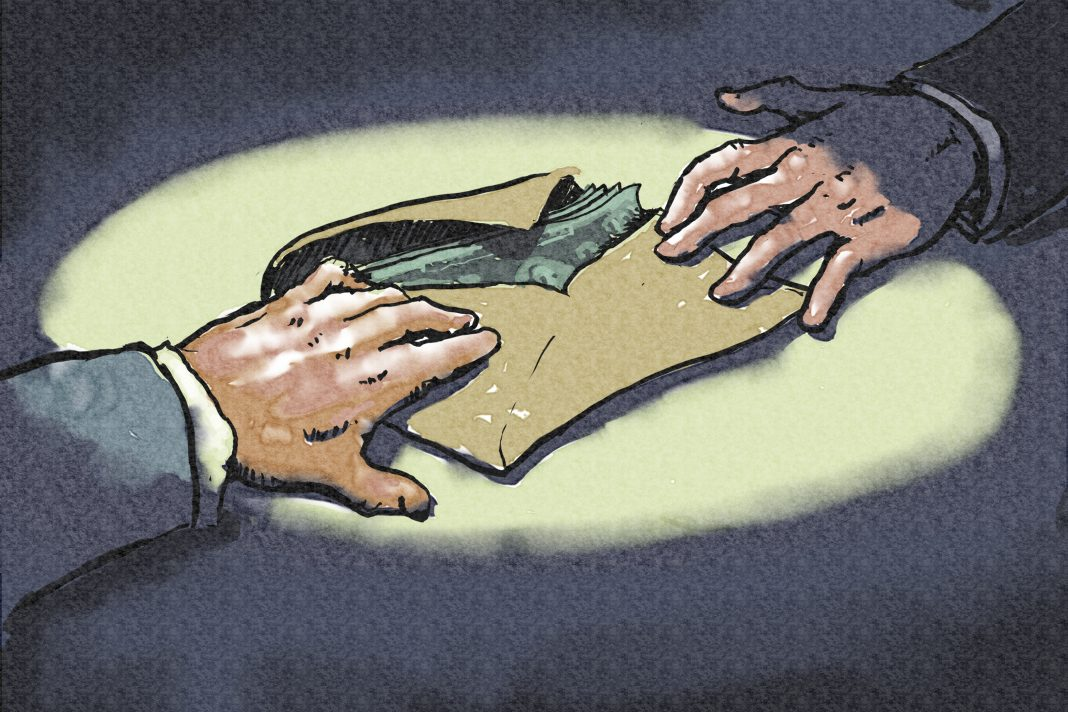 Illustration of two hands passing money in envelope (State Dept./D. Thompson)