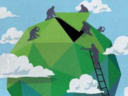 Иллюстрация: рабочие завершают сборку зеленого земного шара (State Dept./Doug Thompson)