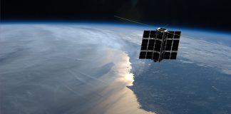 Image of satellite in orbit over the sea (Spire)