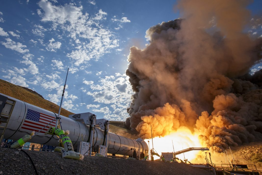 Spacecraft booster undergoing fiery test (NASA)