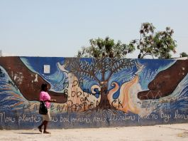 Woman walking past mural painted on wall (André Mellagi/Flickr)