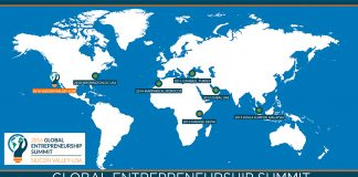Map of world showing where previous Global Entrepreneurship Summits have been held (Courtesy of GES 2016)