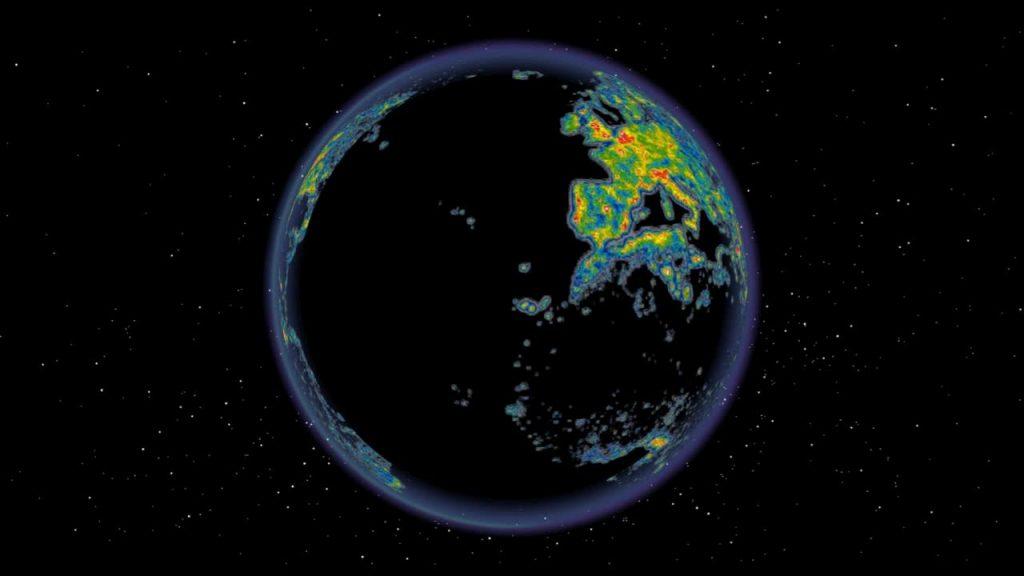 Карта загрязнения планеты (Courtesy of the authors of The New World Atlas of Artificial Sky Brightness. Prepared with ArcGlobe software by Nataliya Rybnikova)
