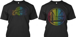 Black T-shirts with NBA team logos in rainbow colors (GLSEN)