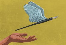 Illustration of winged quill pen flying off hand (State Dept./D. Thompson)