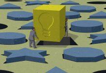 Ilustrasi orang memuat pasak persegi besar dengan bola lampu tercetak ke dalam lubang (State Dept./Doug Thompson)