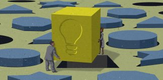 Illustration of people fitting large square peg with lightbulb imprint into hole (State Dept./Doug Thompson)