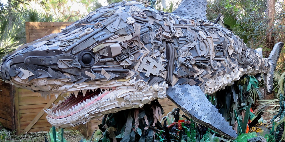 Sculpture of shark made of plastic trash (Courtesy of Smithsonian's National Zoo)