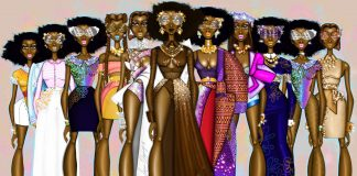 Fashion design sketch of a group of models (© Papa Oppong)
