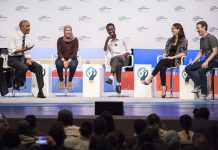 President Obama, three entrepreneurs and Mark Zuckerberg sitting on stage (Flickr/GES)