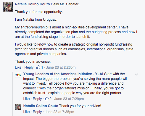 "Natalia from Uruguay asked how to create a strategic non-profit fundraising pitch for potential donors. Sabater advised starting with the impact. ""Tell people how you are making a difference and connect it with their organization's mission."""