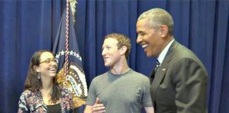Mariana Costa Checa de pie junto a Mark Zuckerberg y Obama (Embajada de Estados Unidos, Lima)