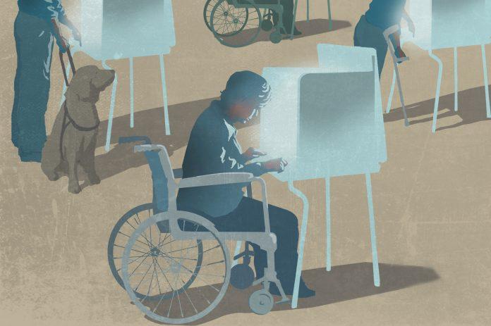 Ilustración de personas con discapacidades utilizando máquinas de votación (Depto. de Estado/ D. Thompson)