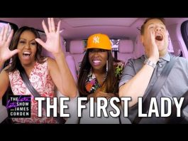 Michelle Obama, Missy Elliott and James Corden singing in car (The Late Late Show with James Corden)