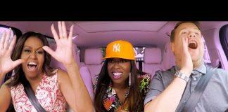 میشل اوباما، میسی الیوت، و جیمز کوردن در حال آواز خواندن در اتومبیل (عکس اهدایی از شوی جیمز کوردن)