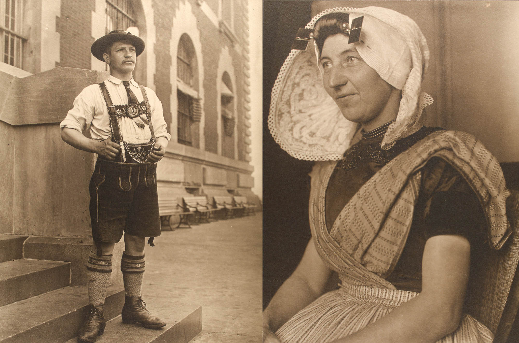 Man in lederhosen, left, and woman in Dutch native dress, right (NPS Photos)