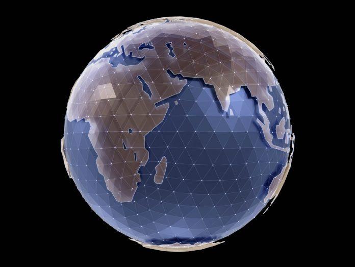 Image of earth portrayed in stylized digital pattern (© Shutterstock.com)
