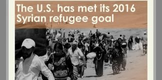 Photo of refugees walking, with text reading 'The U.S. has met its 2016 Syrian refugee goal' (© AP Images/State Dept.)