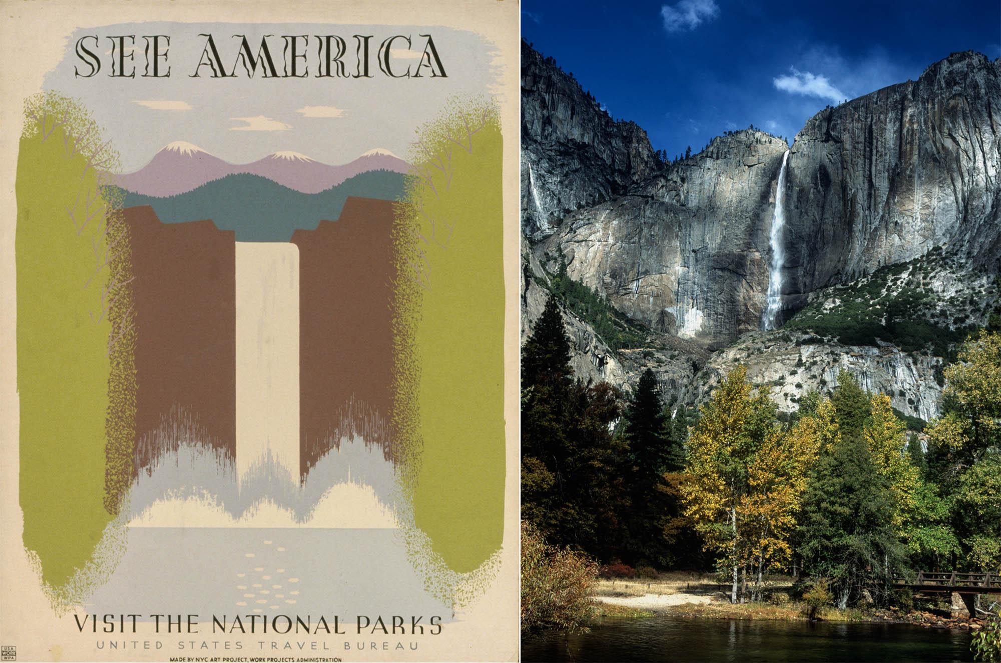 Слева - плакат с водопадом, справа - фото (Library of Congress and © Getty Images/DEA/M. Santini/De Agostini)
