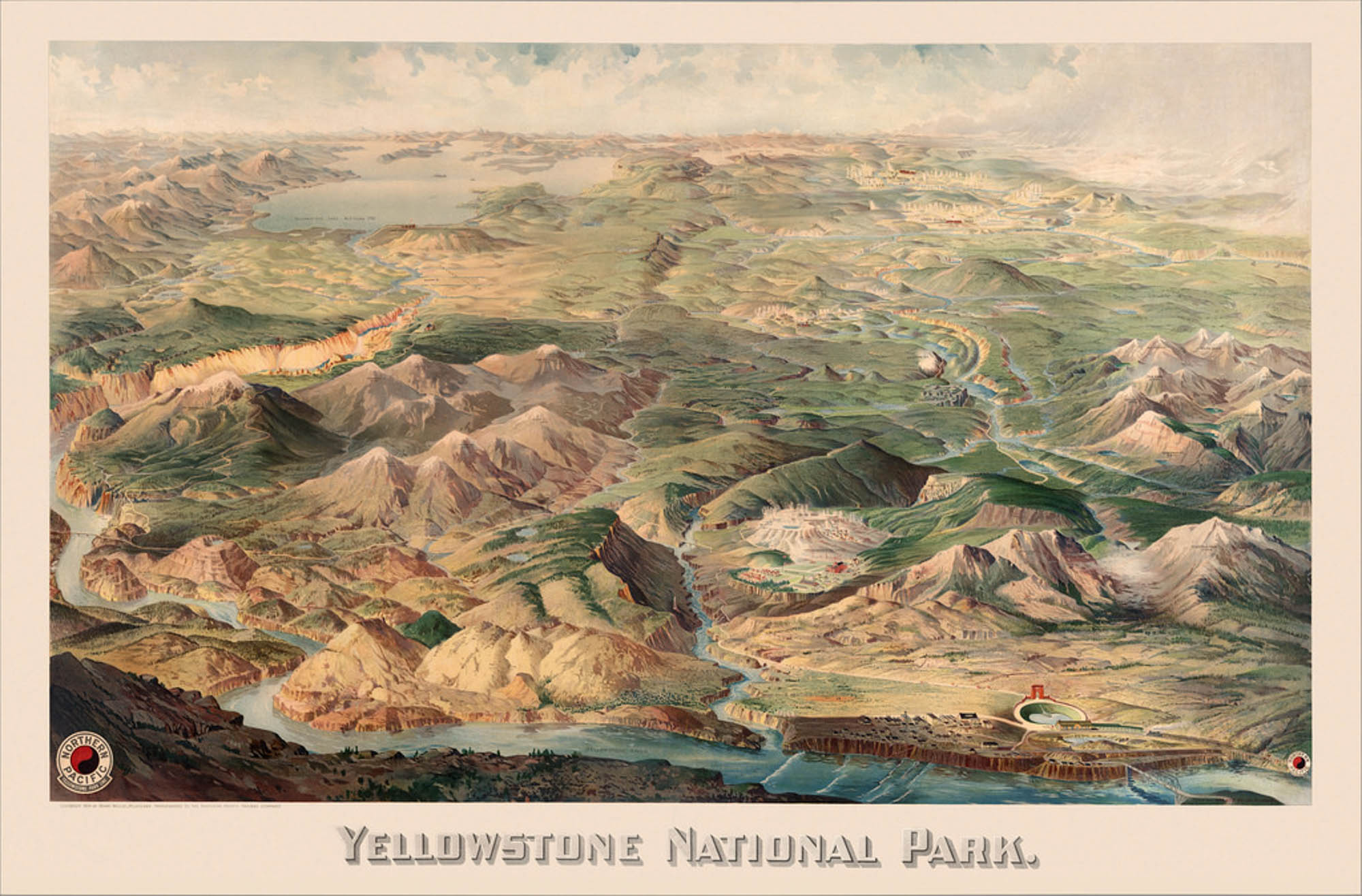 Yellowstone National Park, 1904 America's oldest National Park, and the first National Park in the world, Yellowstone to this day attracts millions of visitors each year. This beautifully hand-drawn map provides a birds-eyes view of the park and the cities and towns surrounding it.