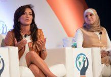 Nina Vaca (kiri) dan Nermin Sa'd di Global Entrepreneurship Summit 2016 (Ben Solomon/State Dept.)