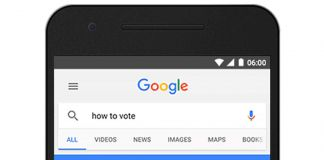 Smartphone showing Google search results for state voting information (© AP Images)