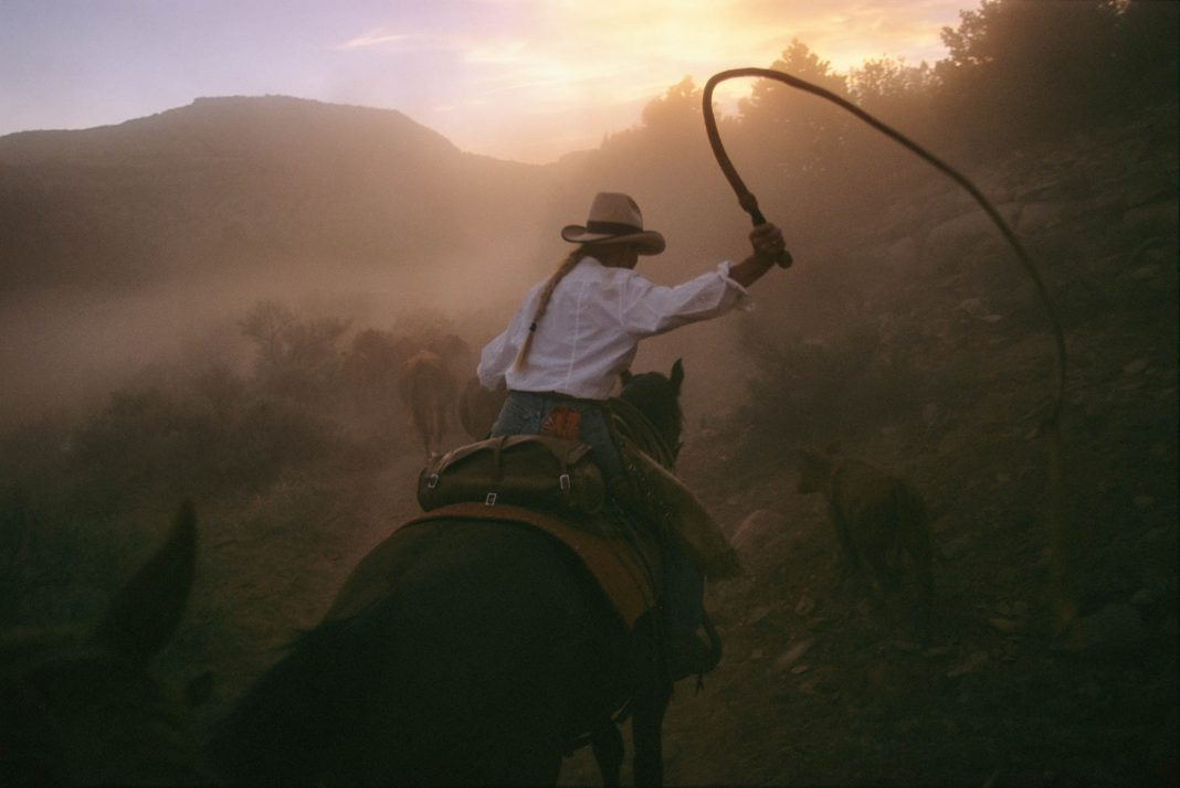 Woman riding horse, swinging large whip (© Melissa Farlow/National Geographic)