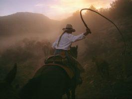 Mulher montada em um cavalo, brandindo um chicote (© Melissa Farlow/National Geographic)