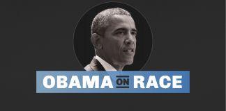 President Obama with text reading 'Obama on Race' (State Dept./ J. Maruszewski)