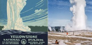 Poster drawing of Old Faithful geyser on left and photo of same geyser on right (Library of Congress and © Getty Images/National Geographic/Walter Meayers Edwards)