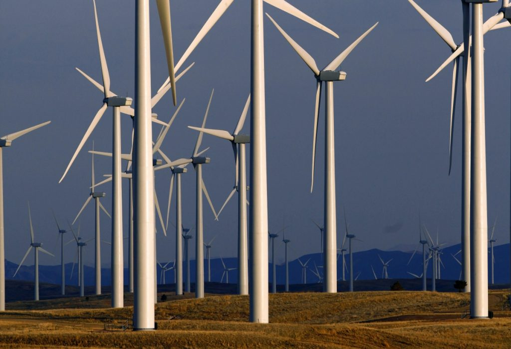 Group of wind turbines (© AP Images)