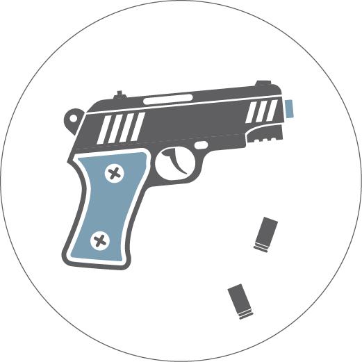 Ilustração de arma e cartuchos de balas caindo (Depto. de Estado./J. Maruszewski)